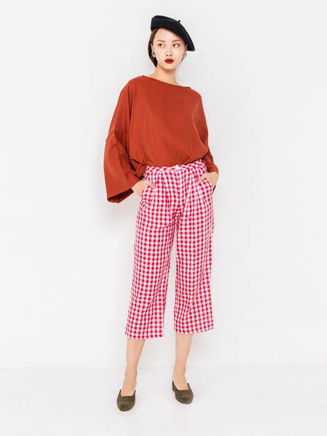 LOUISA GINGHAM PANTS - RED [QUEENDOM]