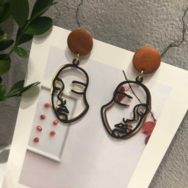 Korea silver little face earring