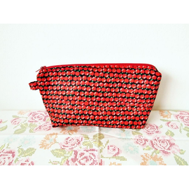 Red Apples on Black Amanda Pouch