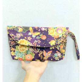 Purple Butterflies Sakura Flowers Clutch