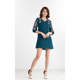 Celesty Embroidered Dress in Teal