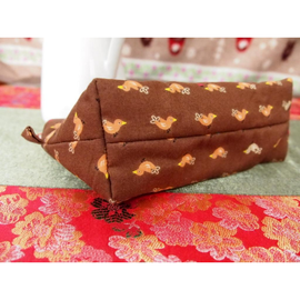 Orange Birds on Brown Amanda Pouch