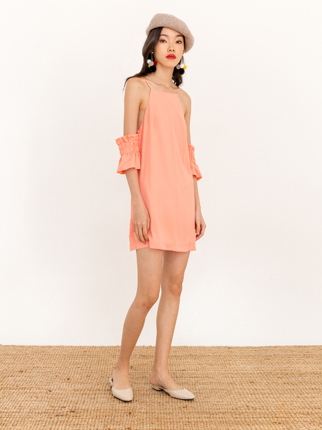 LANA OFF SHOULDER RACER BLOUSE - SALMON PINK [QUEENDOM]