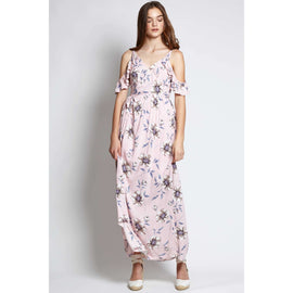 ARIELLE COLD SHOULDER FLORAL MAXI DRESS IN PASTEL PINK