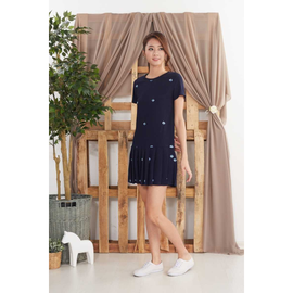 Restocked Ella Yacht Embroidered Dress in Navy Blue