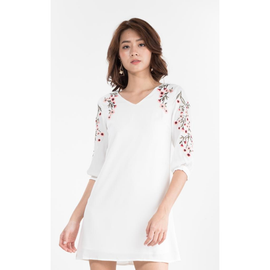 Celesty Embroidered Dress in White