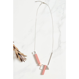 PRISM WOODEN NECKLACE PINK