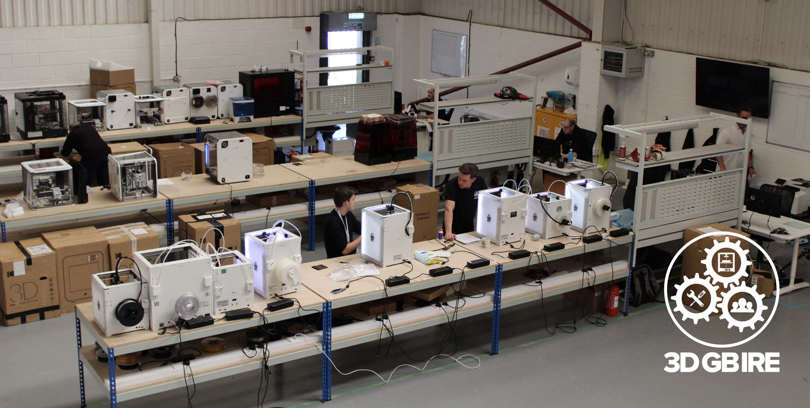 Our team working hard servicing and reparing 3D printers.