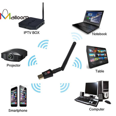 USB Wifi Antenna Bluetooth Network Adapter 600 Mbps Dual Band 2.4/5Ghz