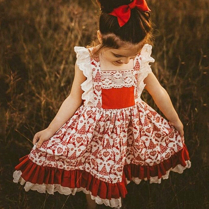 0-5T Christmas Toddler Kids Baby Girls Floral Dress Party