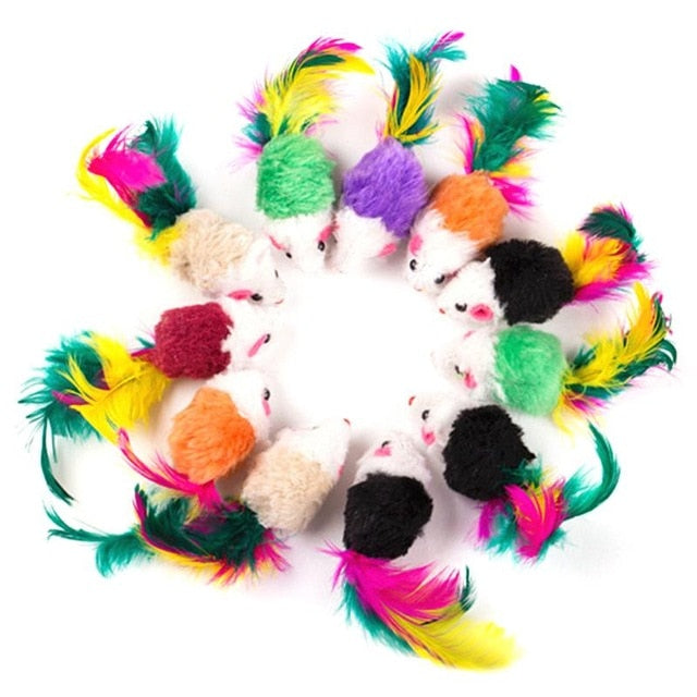 10 Pcs Cat toys False Mouse Pet Cat Toys Mini Funny Playing Toys For Cats with Colorful Feather Plush Mini Mouse Toys