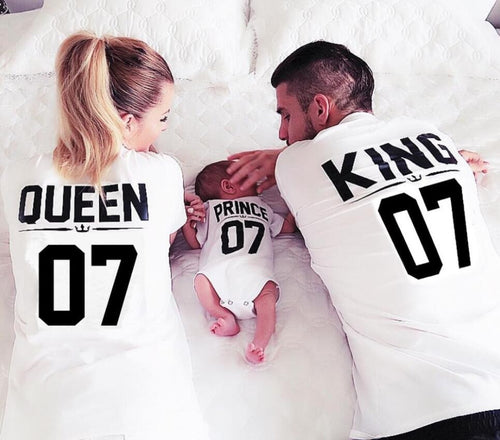 100% Cotton Matching T shirt King 07 Queen 07 Prince Princess Newborn Letter Print Shirts,Couples Leisure Short Sleeve O neck T- - ShopeeShipee