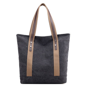 New women's canvas tote bag shoulder bag large capacity leisure travel anti-theft fashion wild Mommy shopping bag - ShopeeShipee