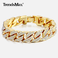 14mm Men's Bracelet Hip Hop Miami Cuban Link Gold Silver Iced Out Paved Rhinestones Male Wristband Street Jewelry 8-10inch