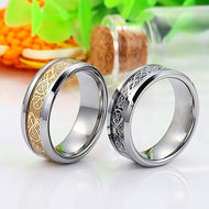 Men Women Dragon Titanium Steel Wedding Party Band Ring Valentine's Gift Jewelry