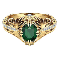 Antique Women Gold Plated Oval Emerald Inlaid Finger Ring