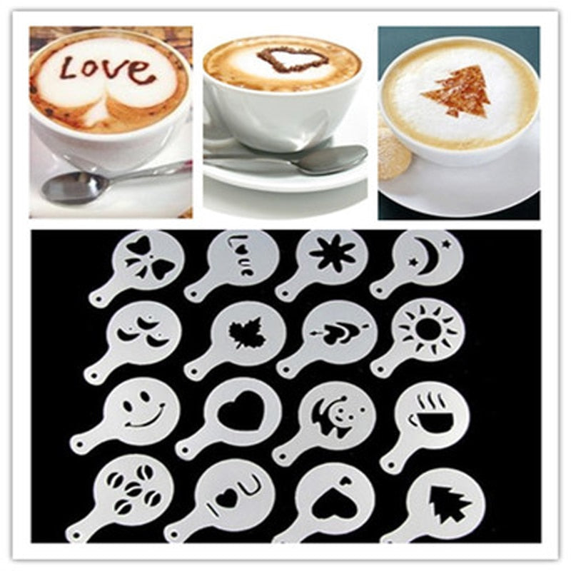 16Pcs/set Cappuccino Coffee Barista Template Strew Milk Cake Cupcake Stencils Template Strew Pad Duster Spray Tools Accessories