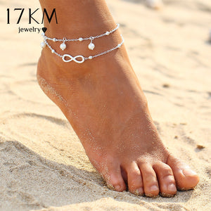 17KM Vintage Antique Silver Color Anklet Women Big Blue Stone Beads Bohemian Ankle Bracelet cheville Boho Foot Jewelry - ShopeeShipee