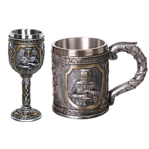 1Pcs 304 Stainless Steel Skull Coffee Mug Viking Skull Beer Steins Gift For Men Father's Day Gifts Halloween Bar Home Decoration