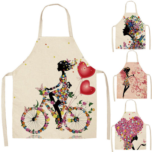 1Pcs Cotton Linen Flower Butterfly Girl Printed Kitchen Aprons for Women Home Cooking Baking Waist Bib Pinafore 53*65cm WQ0034 - ShopeeShipee