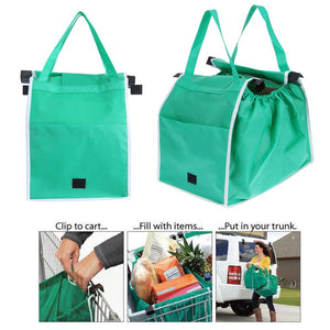 1pc Women Foldable Large Shopping Bags Trolley Clip-To-Cart Grocery Shopping Totes Portable Reusable Eco-friendly Bags Handbags - ShopeeShipee
