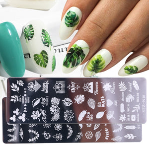 1pcs 12x4cm Nail Stamping Plates Leaf Flowers Butterfly Cat Nail Art Stamp Templates Stencils Design Polish Manicure - ShopeeShipee