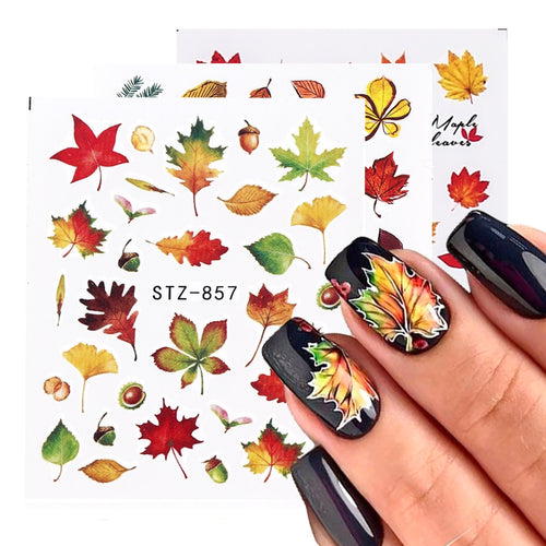 1pcs Fall Leaves Nail Art Stickers Gold Yellow Maple Leaf Water Decals Sliders Foil Autumn Design For Nail Manicure - ShopeeShipee