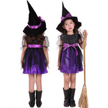 2-12Y Girls Cosplay Princess Dress Children's Halloween Witch Pumpkin Costume With Hat 2pcs Party tutu Dress Teenage Kid Clothes