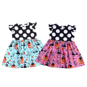2-6T Toddler Kids Baby Girl Halloween Dress Sleeveless Polka Dot Pumpkin Print Patchwork Princess Girls Holiday Party Costume - ShopeeShipee