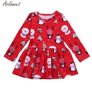 2018 Toddler Kid Baby Girl Christmas Clothes Long Sleeve Pageant Party Princess Dress - ShopeeShipee