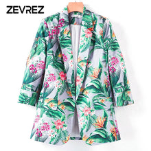 2018 Autumn Fashion Leaf Floral Print Women Blazers And Jackets None Button Casual Ladies Blazer Coat Outwear Plus Size Zevrez