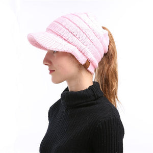 2018 CC Ponytail Beanie Hat Soft Knit Winter Cap Women Slouchy Beanies Hat Woolen Knitted Hats Casual Trendy Messy Bun Warm Caps