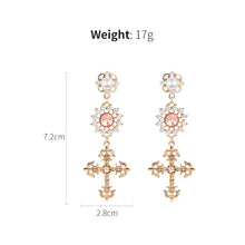 2018 Fashion New Hollow Rhinestone Flower Long Cross Pendant Drop Earrings Vintage Statement Lady Women Jewelry Brincos 5B1013 - ShopeeShipee