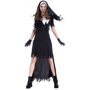 New 4Pcs Scary Bloody Nuns The Nun Costume Party Masquerade Halloween Role-playing Vampire Nuns Devil Dress Role play Dress - ShopeeShipee