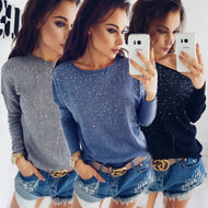 2018 New Fashion Women Loose Long Sleeve Knitted Sweater