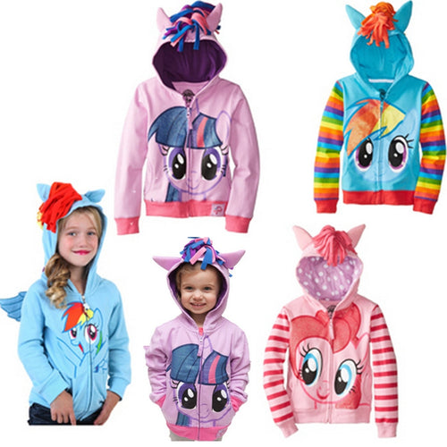 New Spring Autumn My Girls Coats Cute Hooded Boys Jackets Little Children Outerwear Kids Clothes Cartoon Pony Girl Jackets - ShopeeShipee