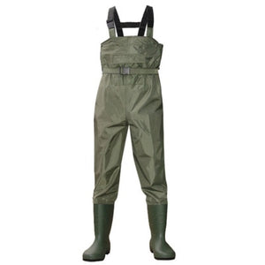 Outdoor Fishing Camping Farming Breathable Overalls Male Wear Strap Jumpsuits Men Waterproof Wading pants with Boots