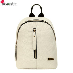 2018 PU Leather Women Backpack Crocodile Pattern Solid Backpack Female Preppy Small School Bags Travel Mini Bag Pack Sac a Dos
