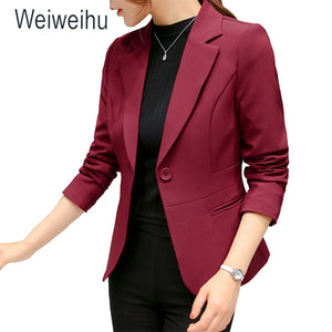 Women's Blazer Pink Long Sleeve Blazers Solid One Button Coat Slim Office Lady Jacket Female Tops Suit Blazer Femme Jackets - ShopeeShipee