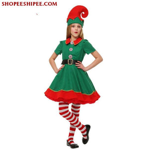 2018 Women Men Boy Girl Christmas Elf Costume Kids Adults Family Green Elf Cosplay Costumes Carnival For Party Supplies Purim - Female / 3T