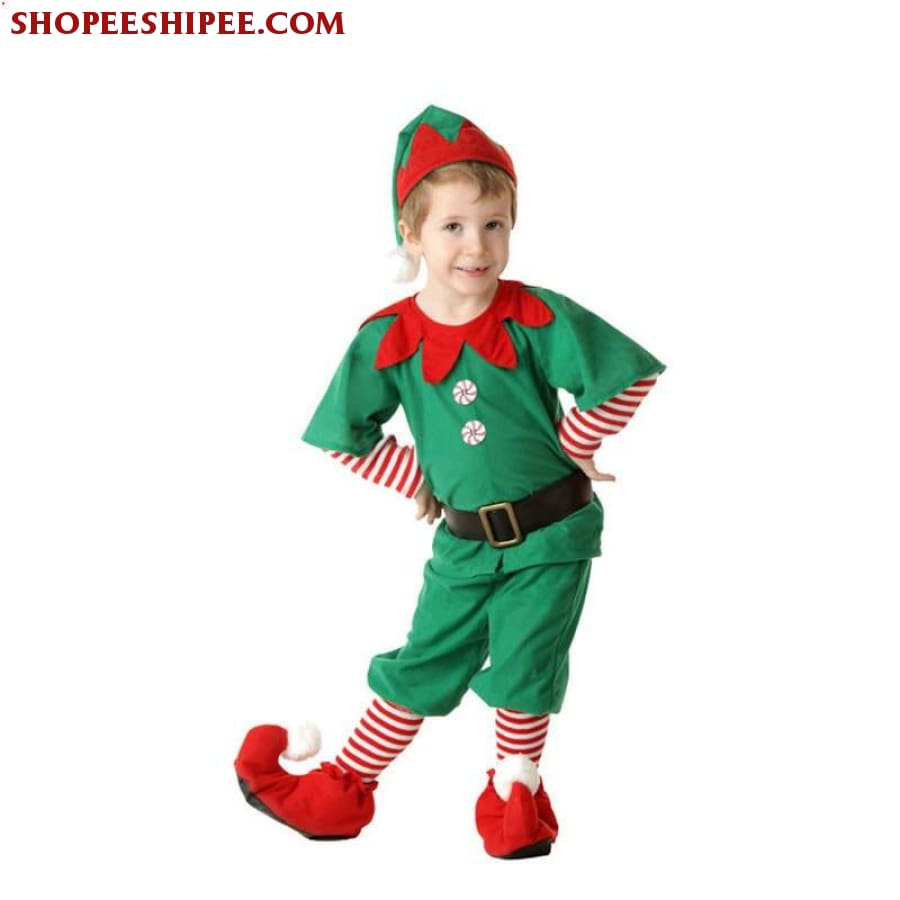 2018 Women Men Boy Girl Christmas Elf Costume Kids Adults Family Green Elf Cosplay Costumes Carnival For Party Supplies Purim - Male / 3T