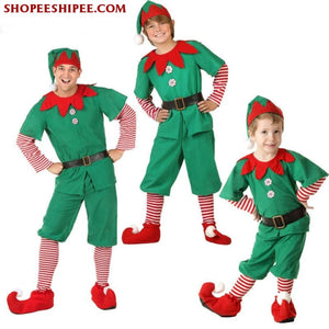 2018 Women Men Boy Girl Christmas Elf Costume Kids Adults Family Green Elf Cosplay Costumes Carnival For Party Supplies Purim