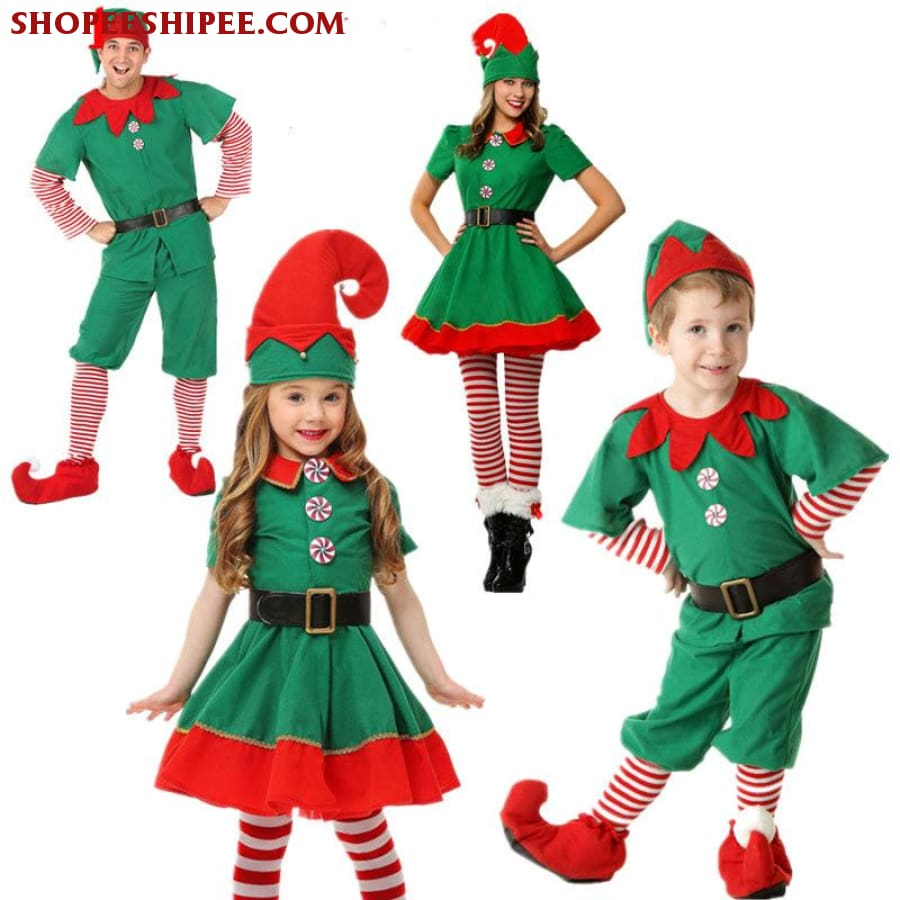 Christmas Carnival Theme Outfit.2018 Women Men Boy Girl Christmas Elf Costume Kids Adults Family Green Elf Cosplay Costumes Carnival For Party Supplies Purim