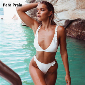 2019 Black Sexy Brazilian Thong Bikinis Adjustable Buckles Swimwear Women Swimsuit Belt High Cut Bikini Set Maillot De Bain