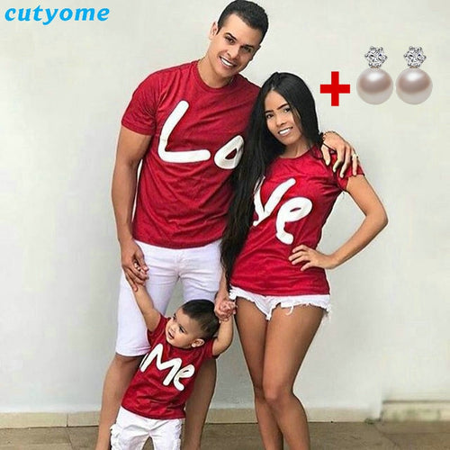 Family Matching Clothes Women Day Mother Daughter Baby Boy Kid Girls Father Son Short Sleeve Valentine Top Love Me T-shirt - ShopeeShipee