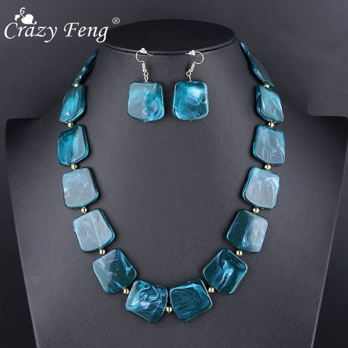 Fashion Natural Stone Pendant Necklaces Set For Women Party Jewelry Retro Chokers Blue Red Indian Jewelry Sets NE+EA - ShopeeShipee