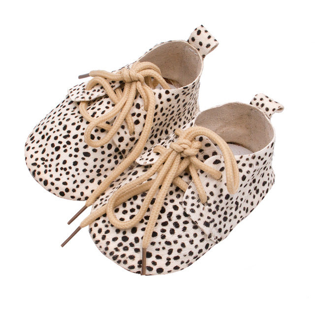 2019 Genuine Leather Baby shoes Leopard print Baby Girls Soft shoes Horse hair Boys First walkers Lace Baby moccasins - ShopeeShipee