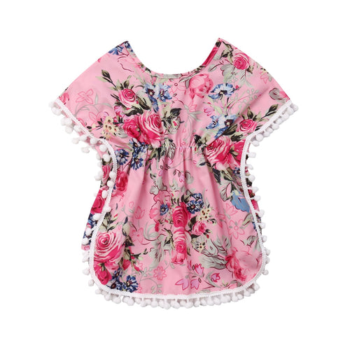 New Flower Dress For Girls Toddler Kid Girl Summer Clothing Casual Floral Beach Tunic Holiday Dress Kid Costumes - ShopeeShipee