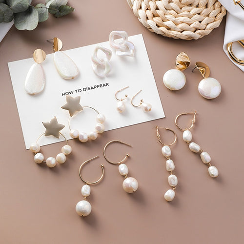 Korean Acrylic Symphony Simulated Pearl Shell Metal Long Tassel Drop Earrings Sweety Jewelry