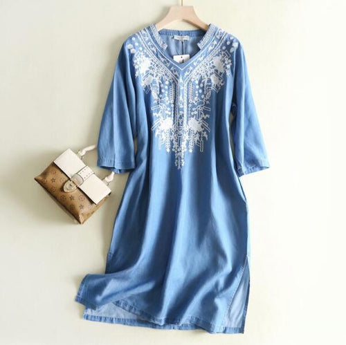 New Spring V neck Casual Geometric Embroidery Denim Dress Women Vintage Ethnic